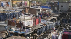 Drying clothes in Dhobi Ghat,Mumbai,India Stock Footage