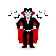 Angry Dracula. Evil Vampire. Aggressive ghoul in black cloak and bat Piirros