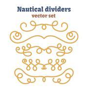Nautical ropes. Dividers set. Decorative vector knots Stock Illustration