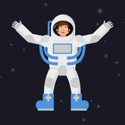 Happy astronaut in outer space. Good cheerful spaceman. Space suit Stock Illustration