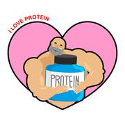 I love protein. Athlete and Sports Nutrition. Cute Bodybuilder. Lover sports  Stock Illustration