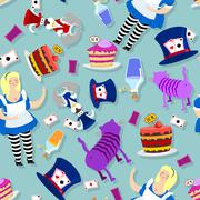 Alice in Wonderland pattern. Fat woman and Cheshire cat. Rabbit in hat. Cylin Stock Illustration