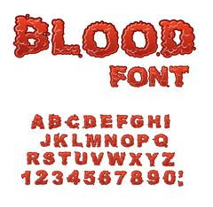 Blood font. Red liquid letter. Fluid lettring. Bloody ABC of scarlet sign. Al Stock Illustration