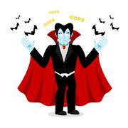 Surprised Dracula. Perplexed vampire says OOPS. Ghoul and bats Stock Illustration