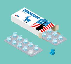 Democratic vitamins. Political Pills. Tablets in pack. Natural health product Stock Illustration