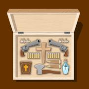 Weapons vampire hunter. Tools against undead in wooden box. Garlic and silver Stock Illustration