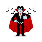 Dracula Thumbs up shows well. Vampire winks. Sign all right. Jolly Good ghoul Stock Illustration