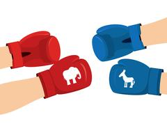 Elephant and Donkey boxing gloves. Symbols of USA political party. American D Stock Illustration