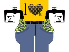 Water tap with money. Oil derrick pumps pipe cash. Pocket with dollars. rich  Stock Illustration