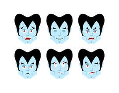 Dracula Emotions. Set expressions vampire avatar. Good and evil. Surprise and Stock Illustration