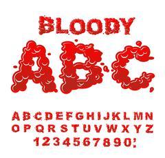 Bloody ABC. Red liquid letter. Fluid lettring. Blood font of scarlet sign. Al Stock Illustration