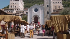 Medieval band marching in Gubbio, Italy Stock Footage