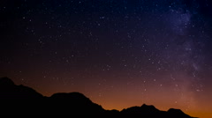 Starry night milky way and clouds on the mountains Stock Footage