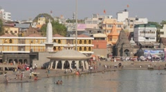 Ramkund or Panchavati, ghat on the sacred river Godavari,Nashik,India Stock Footage