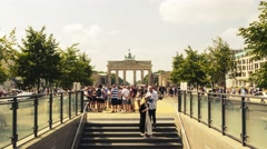 Time lapse of Brandenburg Gate in Berlin, Germany, cloudy weather. Stock Footage