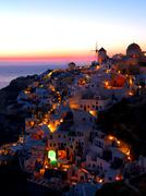 A late evening at Oia village Stock Photos