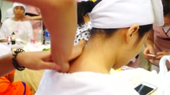 Shoulder massage and health care, Shenzhen, China Stock Footage