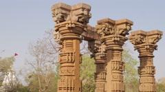 Barahdwari Siddheshwar temple carved columns,Omkareshwar,India Stock Footage