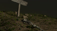 Dead End Sign with Skeleton Stock Footage