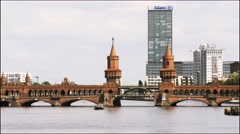 Time Lapse of Oberbaum Bridge at day time from Spree River in Berlin, Stock Footage