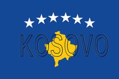 Flag of Kosovo Word Stock Illustration