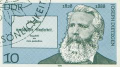 EAST GERMANY - CIRCA 1978: Stamp printed in East Germany showing Joseph Dietzgen Stock Photos