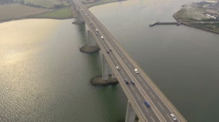 Still shot of bridge with rush hour traffic. Aerial shot Stock Footage