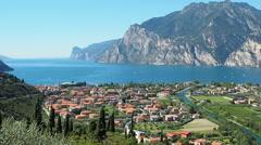 Riva del Garda panoramic view Italy Stock Footage
