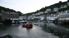 Traditional English Fishing Village in Cornwall, England - establishing shot Stock Footage