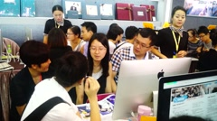 Shenzhen, China: Wedding Expo, a lot of new people to attend the wedding service Stock Footage