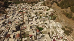 Aerial of the nice village Lindos (island of Rhodes in greece) Stock Footage