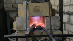 Burning fire and billet in the kiln Stock Footage