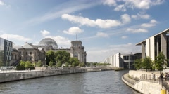 Time Lapse of the Reichstag and Goverment Buildings at the Spree in Berlin Stock Footage