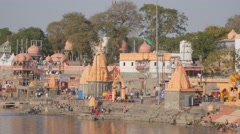Ram ghat with pilgrims,Ujjain,India Stock Footage