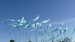 Panning shot against a clear blue sky background of colorful string pennant t Stock Footage