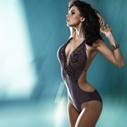 Portrait of the marvelous brunette woman Stock Photos