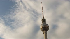 Time lapse of Berliner famous landmark Television Tower Fernsehturm Stock Footage