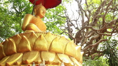Big golden sculpture of Buddha in Thailand Stock Footage