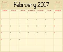 Year 2017 February Planner Stock Illustration