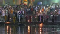 Priest swinging candles on Holi festival,Ujjain,India Stock Footage