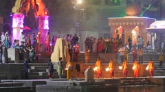 Priests swinging torch at evening ceremony,Ujjain,India Stock Footage