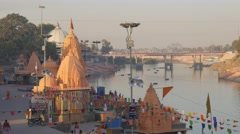 Ram Ghat temples and Shipra river,Ujjain,India Stock Footage