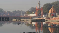 Ram Ghat with temples,Ujjain,India Stock Footage