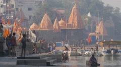 Pilgrims on Ram Ghat,Ujjain,India Stock Footage
