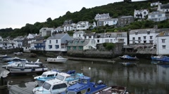 Harbour in a traditional English fishing village Stock Footage