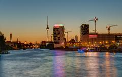 The River Spree in Berlin at sunset Stock Photos