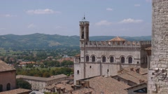 Panoramic view of Gubbio and the surrounding hills, Umbria, Italy Stock Footage