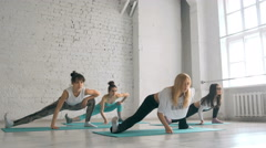 Young Girls Doing Yoga, Group of People In a Stretching Class, Healthy Lifestyle Stock Footage