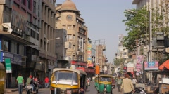 Busy street in old town,Ahmedabad,India Stock Footage