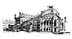 Drawing of Ukraine Kyiv national opera and ballet theatre house Stock Illustration